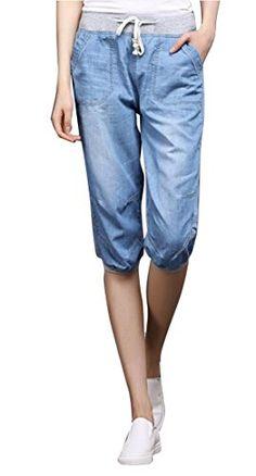 335ff4c409e2 Jotebriyo Womens Elastic Waist Summer Bermuda Denim Shorts Jogger Cropped  Jeans