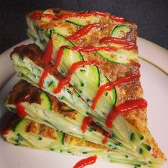 Ripped Recipes - Zucchini and Parmesan Frittata With Sriracha - This served 2 but it keeps well in the fridge for eating later.