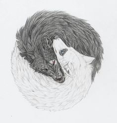 wolf drawings | yin and yang wolves by mysteriouswhitewolf traditional art drawings ...