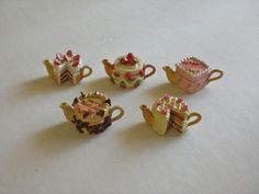 "Tiny decorative miniature dollhouse teapot~CAKE BAKERY 1"" SCALE~OPEN LID~"