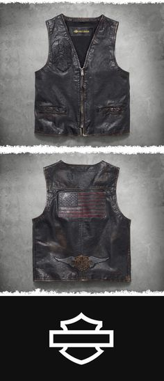 A salute to craftsmanship. | Harley-Davidson Men's Iron Distressed Slim Fit Leather Vest