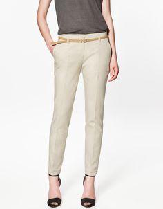 Excellent Quality Elegant Fashion Ladies Pencil Pants, Women Trousers With Belt