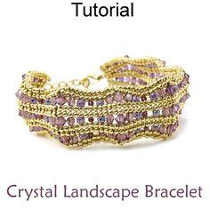 Beaded Crystal Landscape Bracelet Herringbone Beading Pattern Tutorial