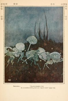 Your demi-puppets that by moonshine do the green sour ringlets make (Prospero) | Edmund Dulac | The Comedy of the Tempest by William Shakespeare | 1915