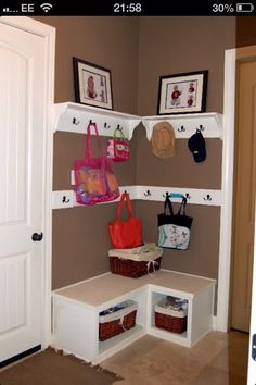 Small hallway storage . Totally adorable...but not sure we have space by front door? Room for cupboards right at top too?