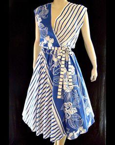 VTG 80s Sleeveless Stripe & Floral Circle Skirt Sun Dress Simple Dresses, Pretty Dresses, Casual Dresses, Fashion Dresses, Blouse Batik, Batik Dress, Batik Fashion, Dress Shirts For Women, Fashion 101