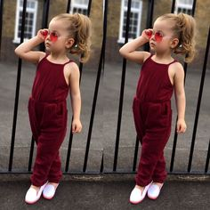 Toddler infant kids baby girl strap jumpsuit romper harem pants clothes out Baby Outfits, Toddler Boy Outfits, Toddler Fashion, Kids Fashion, Fashion Clothes, Fashion Fashion, Toddler Boys, Fashion Trends, Baby Girl Pants