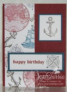 Stampin' Up! Jeannine Tarrio Masculine Birthday Card The Open Sea, One Sheet Wonder Tecnique