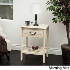 Banks Acacia Wood Accent Table by Christopher Knight Home (Banks Brushed Morning Mist Acacia Accent Table), Beige Off-White