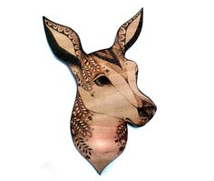 Deer Wall Hanging pyrography wood burning doe wallhanging