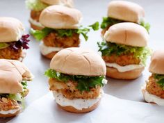Crab Cake Sliders with Blood Orange Aioli Recipe : Jeff Mauro : Food Network Seafood Dishes, Seafood Recipes, Fish And Seafood, Chicken Recipes, Shellfish Recipes, Best Dinner Party Recipes, Holiday Recipes, Tapas, Food Network Recipes