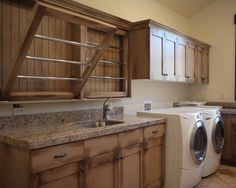 Kitchen, Drying Rack Cabinet Installed Over Washer Dryer