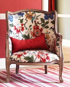 SUMMER CHOICE - Persian Pomegranate Fabric from GP J Baker - bought this as a summer choice. Home Interior, Interior Decorating, Interior Design, Floral Chair, Antique Chairs, Take A Seat, Chair Fabric, Upholstered Furniture, Soft Furnishings