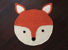 Crochet Fox Rug hand made rug Crochet rug Area rug