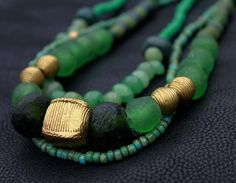 Green African Necklace Trade Beads Brass by HeleenAfricanJewelry