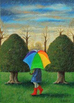 'A Walk in the Rain'.  2012. By Antoinette Kelly www.artfinder.com/antoinette-kelly