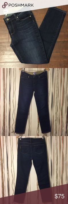 """PAIGE Skyline Ankle Peg Size 29 PAIGE Skyline Ankle Peg Size 29  Authentic Paige jean 70%Cotton 30%Polyester   Waist: 31""""  Inseam: 27""""  Out seam: 36 1/2""""  Leg Opening: 5 1/2""""  Front Rise: 8 1/2"""" Hips: 17 1/2""""  Made in U.S.A  🕊I accept reasonable offers!! I truly do! With the exception of items labeled """"Price Firm""""  🕊Serious buyers please & No Low ballers!  To me it's asking half or more off an item is Low Balling. Paige Jeans Jeans Skinny"""
