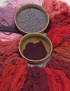 Yarns dyed with cochineal, photo by Rebecca Severeide