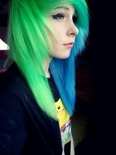 Neon green blue emo hair