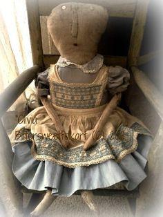 Primitive doll ..vintage dress..