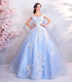 Light Blue Ball Gown Prom Dress Formal With Off Shoulder Flowers, Shop plus-sized prom dresses for curvy figures and plus-size party dresses. Ball gowns for prom in plus sizes and short plus-sized prom dresses for Blue Ball Gowns, Ball Gowns Prom, Ball Gown Dresses, Blue Evening Dresses, Prom Dresses Blue, Pretty Dresses, Light Blue Quinceanera Dresses, Quincenera Dresses Blue, Elegant Dresses