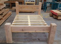 Rustic green oak bed frame 4'0 small double size by GreenOakBeds