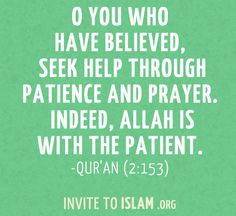 invitetoislam:    O you who have believed, seek help through patience and prayer. Indeed, Allah is with the patient.  - Qur'an (2:153)