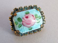 #Vintage Blue Enamel Pin Guilloche Pin Pink Rose. Small pink cabbage rose pin with a rhinestone border on a light blue background. So sweet!  +Condition: Very Good +Hallmark... #etsy #ecochic #vintage #jewelry