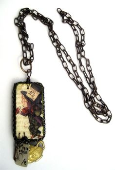 Mad as a Hatter altered domino necklace