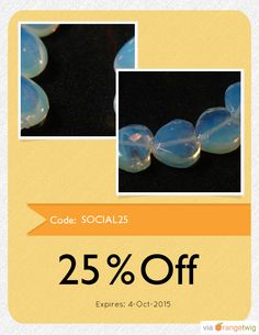 Get 25% OFF our Entire Store now! Enter Coupon Code: SOCIAL25 Restrictions: Expiry: 4-Oct-2015. Click here to avail coupon: https://orangetwig.com/shops/AAA2lhg/campaigns/AABWBWJ?cb=2015010&sn=MoonDancerCrafts&ch=pin&crid=AABWBDi