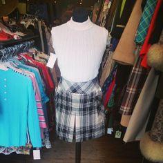 Cute 60's turtleneck top and A-line skirt. Top size 10/12 £15. skirt size 10 £14. #skirt #turtleneck #top #1960s #black #white #style #twiggy #trend #tartan #style #fashion #twitter #tumblr #vintage #vintageguruscotland #retro #byresroad