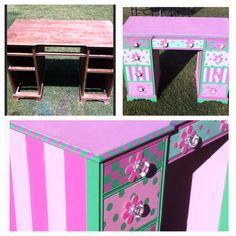 Repurposed old wooden desk !  My talented sister, Melanie Castle Brown painted this desk! :)