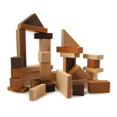 Wood Building Blocks, 32 piece shape kids toy