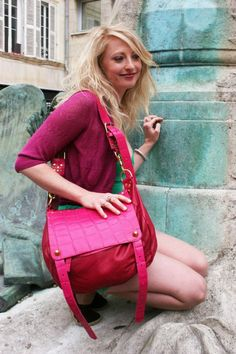 Signature Magpie Messenger...in Fuschia Pink.....modelled in La Rochelle by our beautiful friend Abi Makin...also a talented jewellery designer...http://makinjewellery.com/