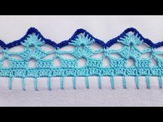 Crochet Edging Patterns, Crochet Borders, Fiber Art, Crochet Necklace, Crochet Hats, Floral, Youtube, Crochet Dollies, Crochet Flower Patterns