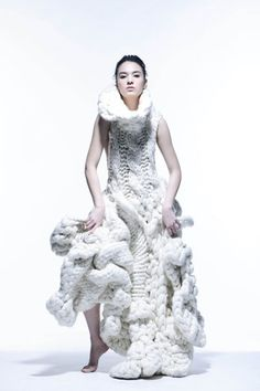 Sculptural Knitwear - 3D fashion structures; knitted dress; knit couture // Johan Ku