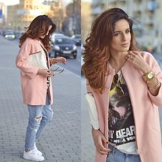 Zara Pink Coat, Zara Boyfriend Jeans, Nike Air Force, Zara Printed Shirt, Bershka White Bag