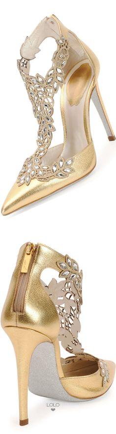 Rene Caovilla ~ Crystal Lace Gold Metallic Pump 2015