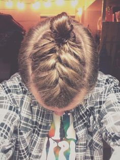 French braid man bun.