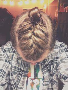 French braid man bun.