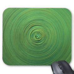 Abstract Green Swirl Design Mousepads