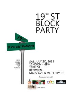 like the idea of having the street name and sign on the flyer, makes it more about the place of the party...