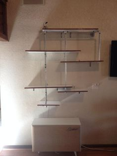 Pipe Shelving. Free form shelves made from Galvanized pipe and furniture grade ply. Veneer sides.Custom one off design.NOT COPIED FROM THE INTERNET. HASi Original 1-21-2014.