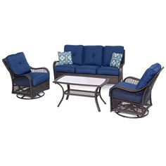 Orleans 4-Piece Seating Set in Navy Blue