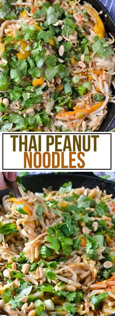 Skip the takeout and try this make this delicious recipe for Thai Peanut Noodles tossed in a creamy peanut sauce and topped with lots of fresh herbs, chopped green onion and crunchy peanuts! I'm addicted to these Thai Peanut Noodles! Hot or cold they are delicious! These noodles are loaded with veggies and rice noodles …
