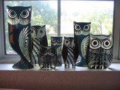 A grouping of acrylic owls by Abraham Palatnik, 1970s.