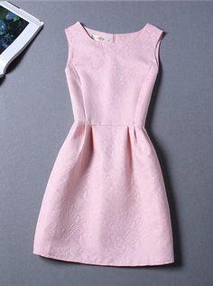 Sleeveless Pink A Line Fashion Dress