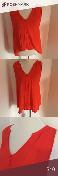 Merona button front blouse XXL orange Orange. Great for that tan! Button front blouse. Light weight. Detail at shoulders. Can be worn tucked in or tied in front. Great for work or casual. Barely worn. Also available in royal blue and a bright blue Merona Tops Blouses