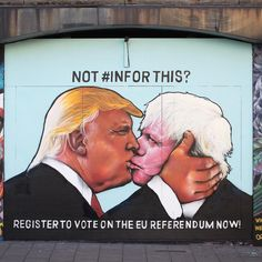 This mural in #Bristol, #England, shows Donald Trump and former London Mayor…