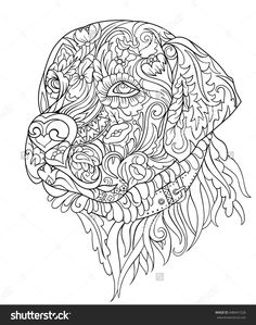Zentangle cute dog. Hand drawn sketch for adult and children antistress coloring page, T-shirt, logo, greeting and postcard. Stylized floral ornament. Vector illustration. Labrador face. Animal design